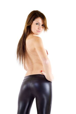 back picture of an attractive woman wearing leather pants photo