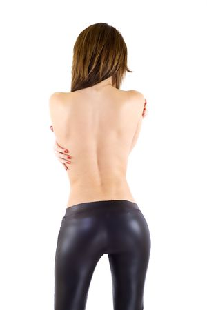 picture of a sexy woman's back wearing black leatehr pants Stock Photo - 6344433