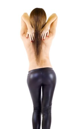 Picture of sexy girl wearing leather pants, from behind