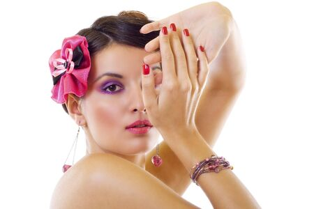 accesories: beautiful lady with bright purple make-up & beautiful broch and accesories