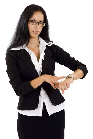 pretty businesswoman pointing on watch over white  photo