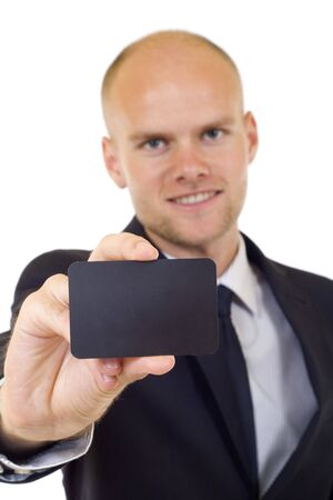 Business man handing a blank business card over white background Stock Photo - 6393953