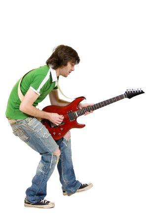 spigola: immagine di un chitarrista appassionato di suonare una chitarra elettrica over white