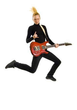 headbanging woman guitarist jumps making rock sign over white Stock Photo - 6393846