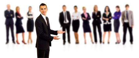 businessteamwork: businessman welcoming to his team over white background