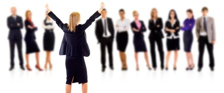 winning businesswoman and her team over white background Stock Photo - 6454411