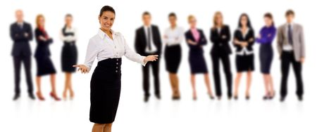 business team with a businesswoman leading it - isolated over a white background  photo