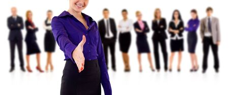 businesswoman welcoming to her successful businessteam over white  photo