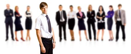 business man smiling leading a team over white Stock Photo - 6454412