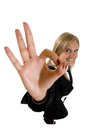 Attractive businesswoman satisfied with results - ok sign Stock Photo - 6596839