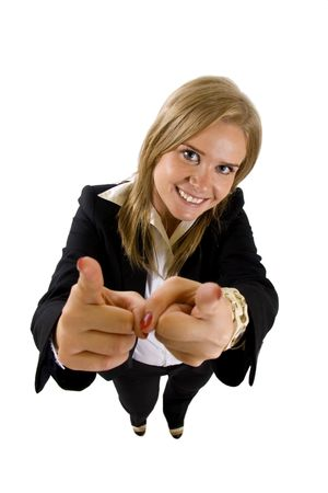 happy businesswoman pointing to you (isolated on white) Stock Photo - 6596884