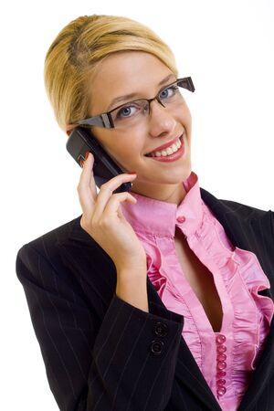 Beautiful Woman on Phone, isolated on white background  photo