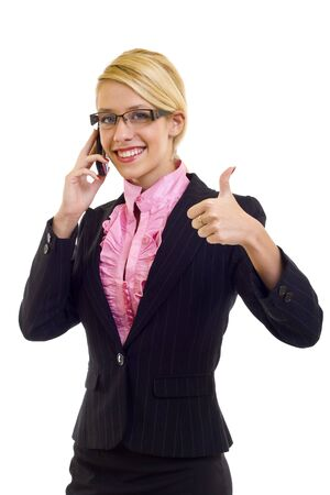 Happy businesswoman with phone and thumbs up gesture, isolated  photo
