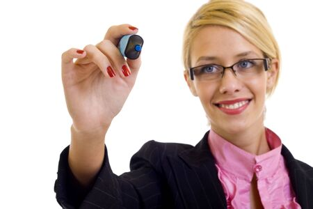 Business woman writing something with a blue marker