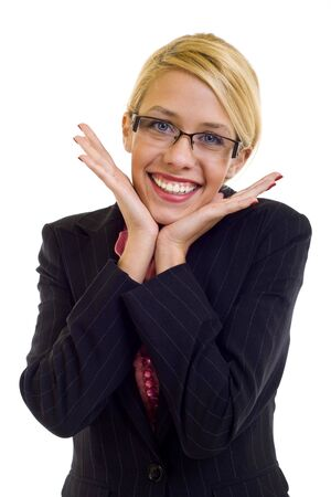 Very excited business woman holding her head in amazement. Isolated on white.  photo