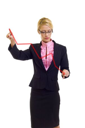 intelligently: Businesswoman drawing a graph - crisis , over white  Stock Photo