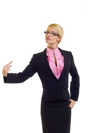 the chosen one: Friendly young business woman pointing at herself - the chosen one