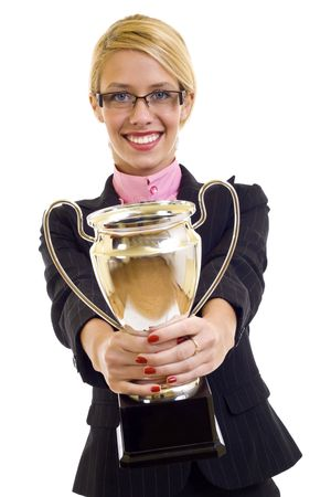picture of an attractive businesswoman winning a gold cup  photo