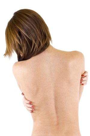 Woman from behind, naked body, over white photo