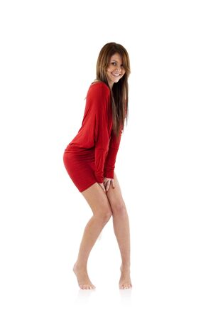 picture of a shy woman in red dress over white Stock Photo - 6661785