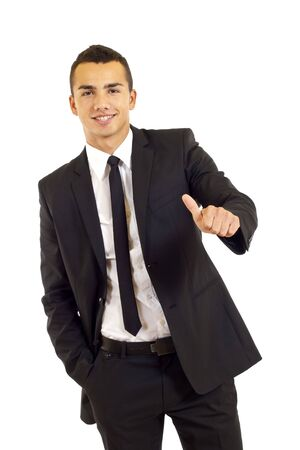 A handsome businessman with thumbs up on an isolated white background  photo