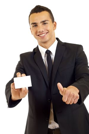 Business man showing a blank card, focus on card  photo