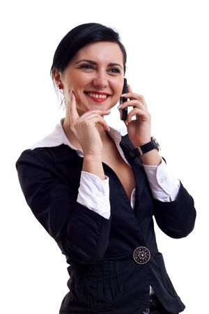 Businesswoman speaking on the phone. Isolated on the white background Stock Photo - 6912485