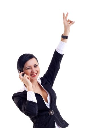 attractive businesswoman on the phone winning over white Stock Photo - 6912893