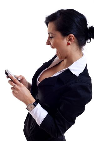 picture of a businesswoman yelling into a phone  photo