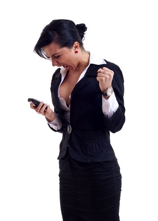 mad businesswoman screaming at her mobile phone photo
