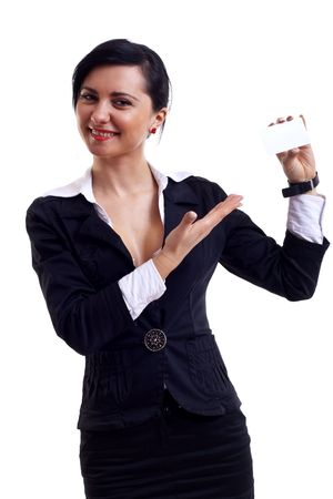 Attractive Businesswoman presenting her business card