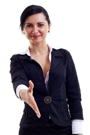 greeting people: Businesswoman giving hand for handshake, isolated on white