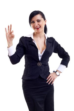 allright: Attractive businesswoman satisfied with results - ok sign