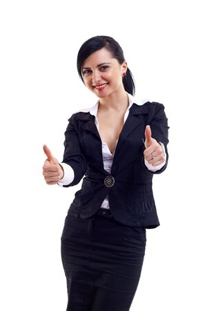 Businesswoman giving thumbs up isolated on white white background.  photo