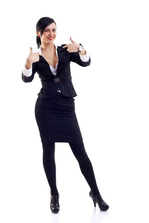 chosen one:  Friendly young business woman pointing at herself - the chosen one  Stock Photo