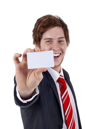 Business man handing a blank business card over white background, focus on hand and card Stock Photo - 6911990