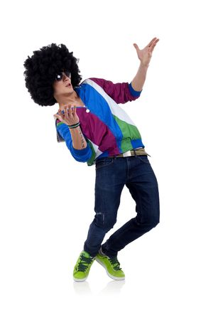 wig: young funky man welcoming everybody to the party Stock Photo