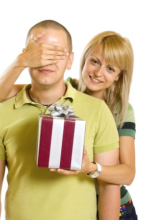 Romantic couple with gifts in box in valintine day