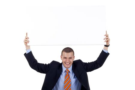 else: Young man in suit with banner for your text or something else