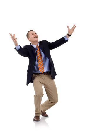 full lenght: full lenght of young businessman shouting loudly with his arms widened