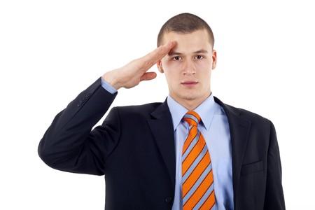 Uomo d'affari d? saluto isolato su sfondo bianco