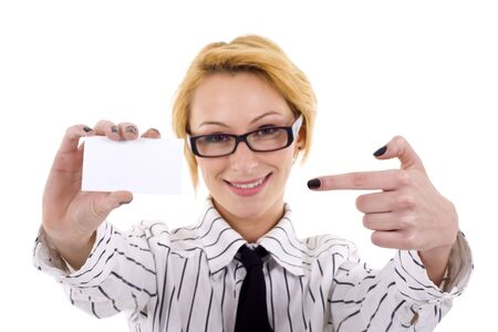 Businesswoman with glasses presenting a blank card