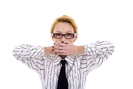 business woman in the Speak No Evil pose over white Stock Photo - 6969931
