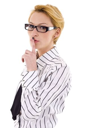 Portrait of young business woman with the finger near her lips  photo