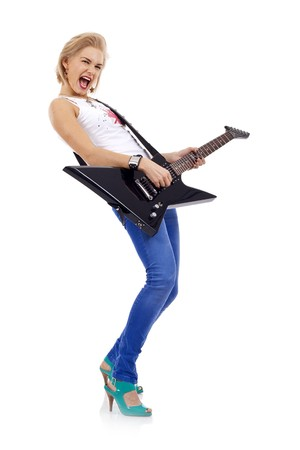 The beautiful blonde with a guitar over white Stock Photo - 6969855