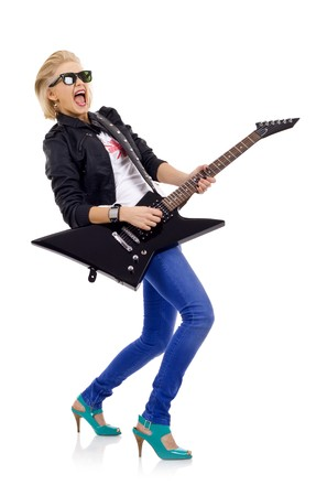 pinup girl: screaming girl with  electric guitar over white  Stock Photo