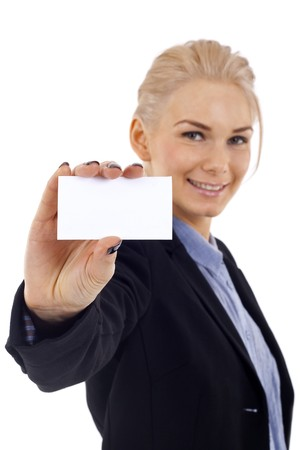 Attractive Businesswoman Closeup - presenting her business card Stock Photo - 7058918