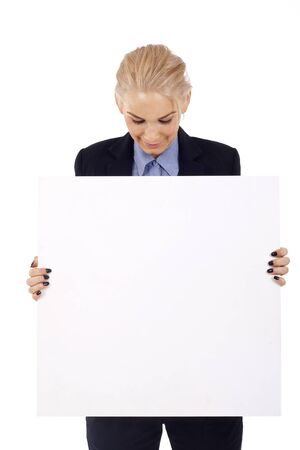 Young happy secretary holding a  white board  Stock Photo - 7058857