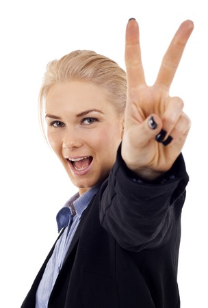 attractive businesswoman making victory sign over white photo