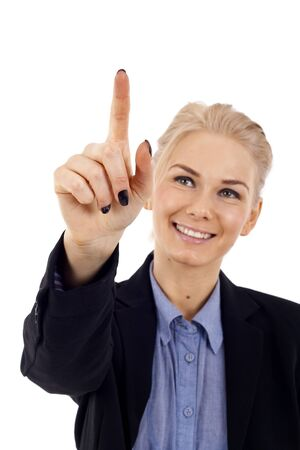 businesswoman touching virtual pad transparent key with finger over white Stock Photo - 7059011